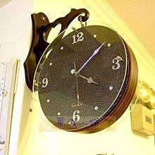 006 華城小鋪 **田園 時鐘 靜音 造型時鐘.鐵藝掛鐘 雙面鐘 掛鐘 韓國實木水鑽真皮雙面鐘