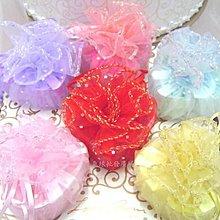【氣球批發廣場】圓片~花朵圓形喜糖紗袋1.5元 雪紗袋喜糖袋可裝香皂花或5顆金莎巧克力