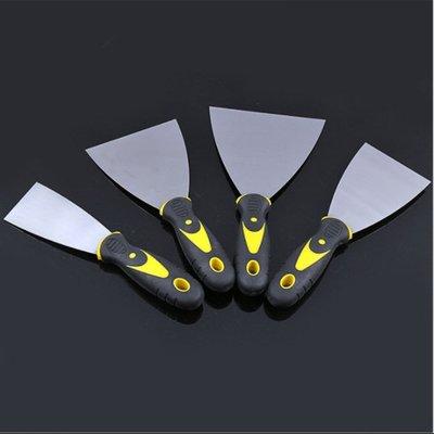 雙色柄鏡面油灰刀4寸多規格膩子刮刀 耐腐耐鏽鋼制油灰刀