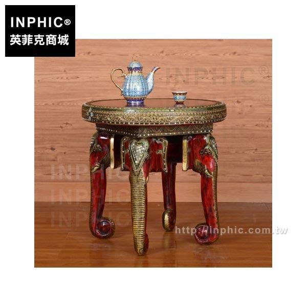 INPHIC-東南亞貼花傢俱象鼻茶几圓形小型邊几泰國做舊木雕_7sCe