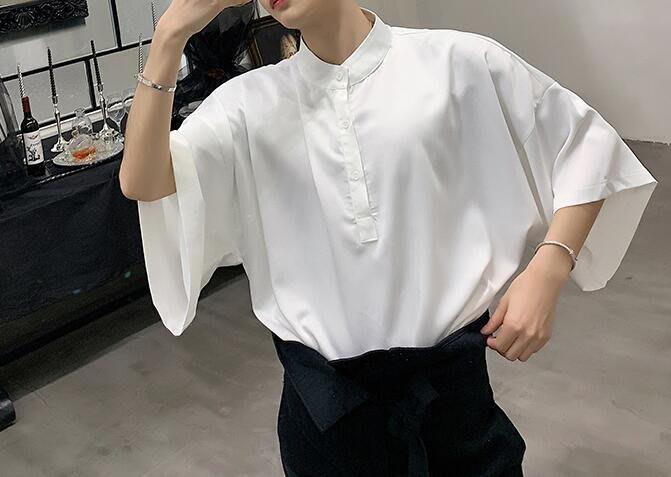 FINDSENSE 品牌 2019 春季 新款 寬鬆  潮流  個性 社會 男青年  短袖  免燙 襯衫 復古 氣質