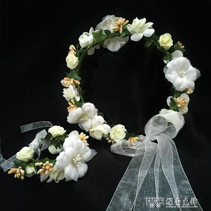 兒童頭飾花童唯美伴娘花環手花女童禮服配飾花童飾品公主頭花花朵