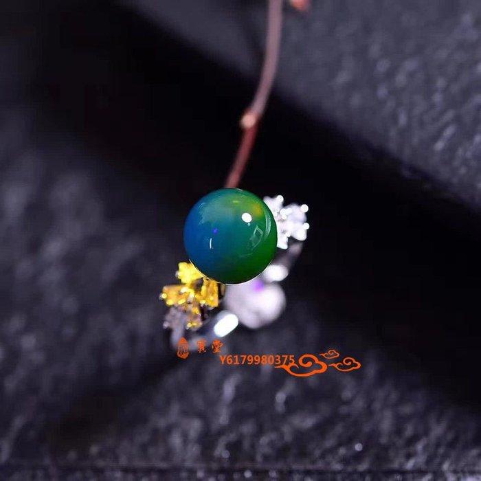 【福寶堂】天然精品多米尼加5A凈水藍珀戒指 蜜蠟琥珀活口925純銀鑲嵌男女款