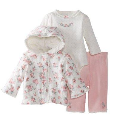 Little Me 典雅玫瑰連帽外套3件組 外套 長袖包屁衣 粉色長褲 9m 售:1280含運