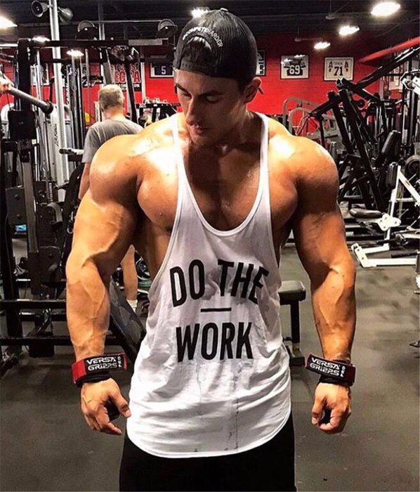 T90 實穿照 DO THE WORK 標語 細肩帶 背心 健身背心 重訓背心 男生背心 低胸背心 挖背背心 健身服飾
