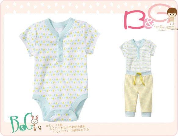 【B& G童裝】正品美國進口OLD NAVY 小三角圖樣粉綠色短袖連身衣6-12-18mos