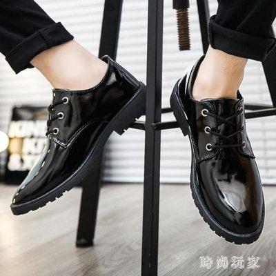 男士皮鞋 馬丁鞋韓版英倫男士工裝大頭休閒皮鞋男百搭潮流亮皮男鞋OB1676