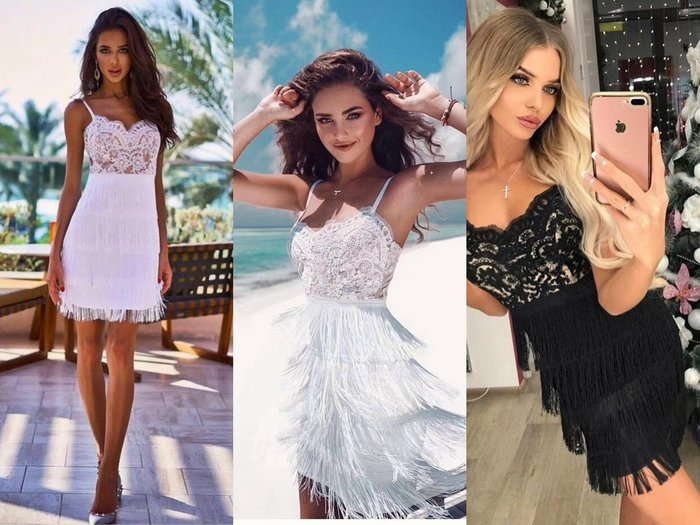 Luxe boutique 歐美蕾絲顯瘦繃帶流蘇洋裝 禮服 孫芸芸 關穎 小S  約會 伴娘 酒會