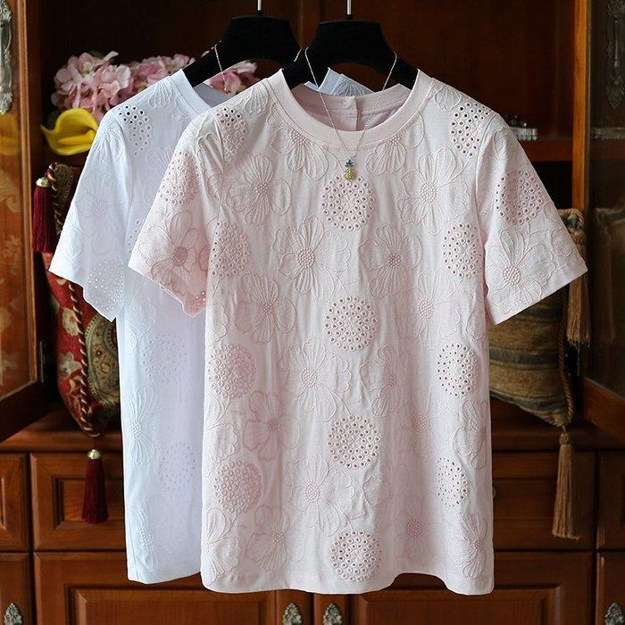 YM 重工精緻刺繡圓領短袖上衣 細緻柔軟80支棉 T恤