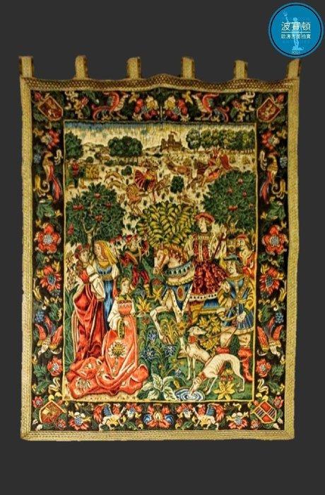 【波賽頓-歐洲古董拍賣】歐洲/西洋古董 法國古董 19世紀 法國老壁毯/掛毯 中世紀貴族狩獵(尺寸:164x119cm)(年份:1900~1930年)