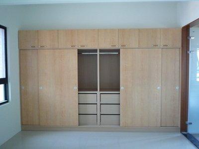 《推門式衣櫃》白橡木色衣櫥 (衣櫃)-(木芯板+美耐門板-耐用度高!!) -高雄 屏東 .系統櫃