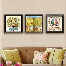 現代客廳田園裝飾畫抽象畫玄關無框掛畫花鳥創意裝飾壁畫三聯畫(三幅一組兩款可選))