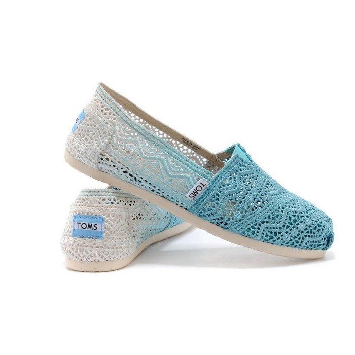 美國正品TOMS Crochet Classics漸變藍色鏤空雕花蕾絲 夏季必備透氣休閑鞋 victoria【促銷特賣】