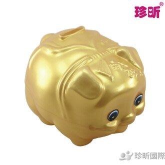 【珍昕】台灣製 3號金豬存錢筒(約寬13*高11cm)/存錢筒/豬公/撲滿