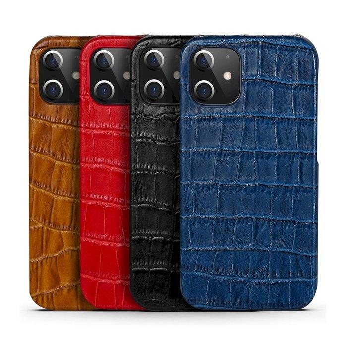 IPhone 12 Pro Max 12 mini 皮革保護殼真皮鱷魚紋手機殼背蓋