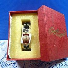 【水晶錶】全新絕版 鱷魚錶 (菱褐框褐面) 水晶錶帶手圍可調整 附盒 尺寸:9*3.5*2.5㎝ 重量:90g