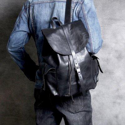 後背包真皮雙肩包-簡約純色植鞣牛皮男女包包3色73vz23[獨家進口][米蘭精品]