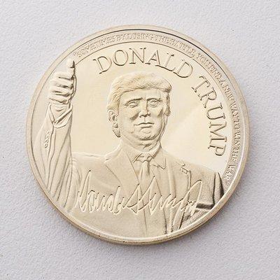 古玩收藏~2021年風云人物美國總統唐納德特朗普紀念金幣 外國硬幣收藏禮品
