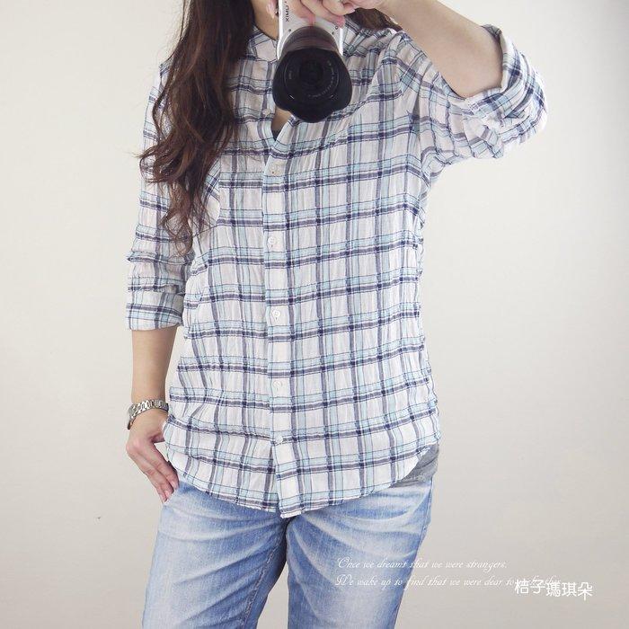正韓 皺感棉麻紗 經典細格紋 長袖襯衫(藍、紅)~桔子瑪琪朵。惠衣