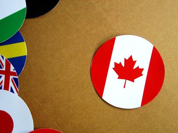 【國旗貼紙專賣店】加拿大國旗圓形旅行箱貼紙/抗UV防水/Canada/多國款可收集和客製