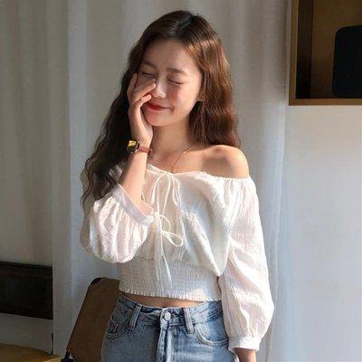 短袖襯衫 夏季韓版女裝一字肩短款襯衫上衣網紅ins設計感小眾港風短袖襯衣