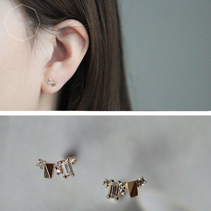 BJ12-法式手工輕珠寶-純14K黃金。繁星閃爍精緻鑽和方塊組合耳環agete風格簡約少女手鍊