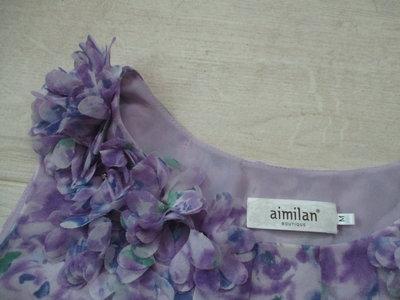 aimilan愛蜜蘭    chiffon 100%雪紡紗 花邊 花朵 花苞下襬 無袖上衣/M