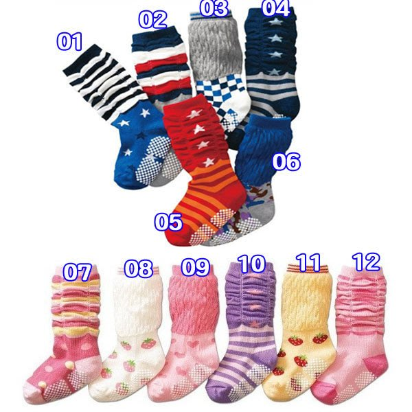Q媽 兒童襪 星星 草莓 格子 線條圖案防滑中筒襪 男女寶寶堆堆襪 兒童百搭襪