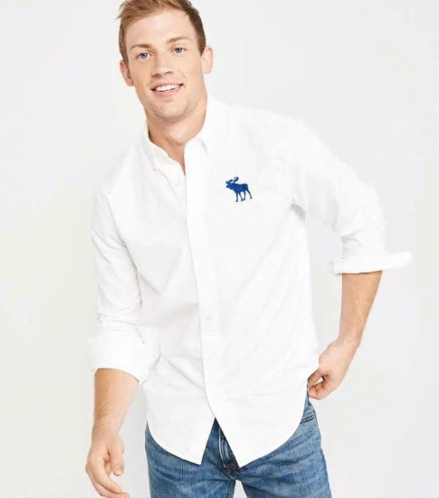 AF Abercrombie&Fitch 藍色大麋鹿 牛津襯衫 長袖 襯衫 白色