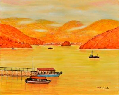 H58 謝孝德 渡船頭 2013 30號 油畫 (桃園、客家、本土、台灣、師大、教授、當代、藝術、水彩、投資)