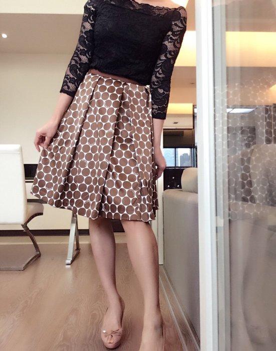 *Beauty*CLATHAS咖啡色圓點點抓摺及膝裙38號 PH