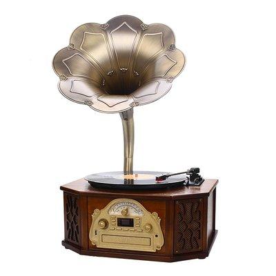 {源品家}{源品家}復古大喇叭實木留聲機 歐美仿古電唱機老式復古黑膠唱片機家用音響擺件