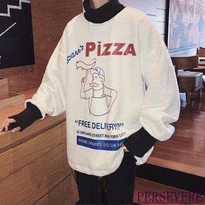 PERSEVERE不將就男裝  2019冬季新款羅紋拼接加絨高領衛衣男潮套頭百搭寬松