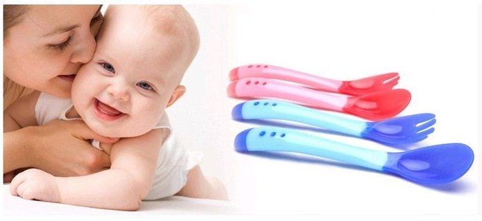 【現貨+預購】寶寶、兒童感溫湯勺,叉子,餐具組