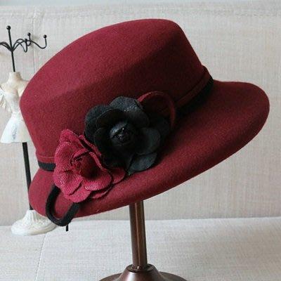 羊毛呢帽 禮 帽-名媛優雅精美花朵女帽子3色73tk30[獨家進口][米蘭精品]