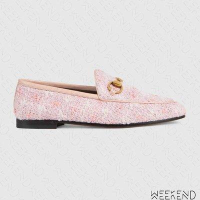 【WEEKEND】 GUCCI Tweed Loafer 毛呢 格紋 休閒 樂福鞋 粉色 431467 19春夏