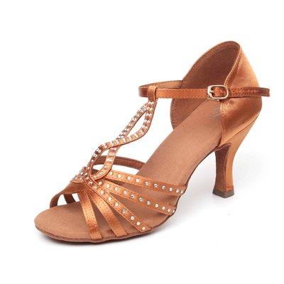 """Afa安法國標舞鞋/拉丁舞鞋 原價$2,800~~女拉丁 T字辮 41902 古銅鍛布 鞋跟2.3""""、3"""""""
