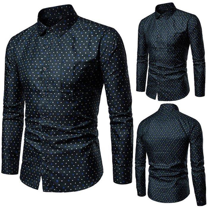 『潮范』  N4 跨境亞馬遜新款男士嘴唇碎花印花襯衫 長袖襯衫 修身方領個性拼接襯衫