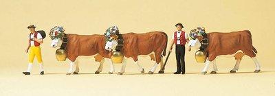 傑仲 (有發票) 博蘭 公司貨 Preiser 人物組 Cowherd. Herd of cows 10404 HO