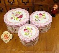 粉紅玫瑰精品屋~粉色花情人收納鐵盒 密封盒~三件套