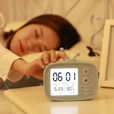 電子靜音智慧鬧鐘LED小學生女床頭創意兒童卡通夜燈多個定時實用4色可選