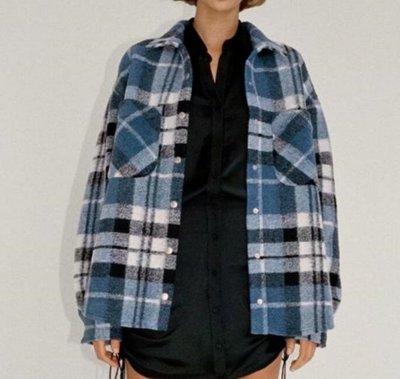 *外套*歐美新款冬季格子襯衫毛呢外套U7-38221
