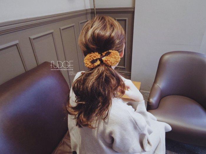 FUDGE法橘 / 正韓 溫柔氣質仿羊羔毛蝴蝶結髮夾[法國夾]/LH181233