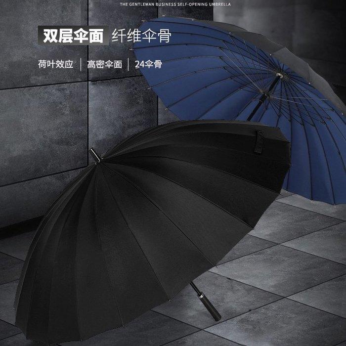 雙人超大號雙層加固24骨商務防風長柄雨傘男士戶外晴雨兩用直桿傘
