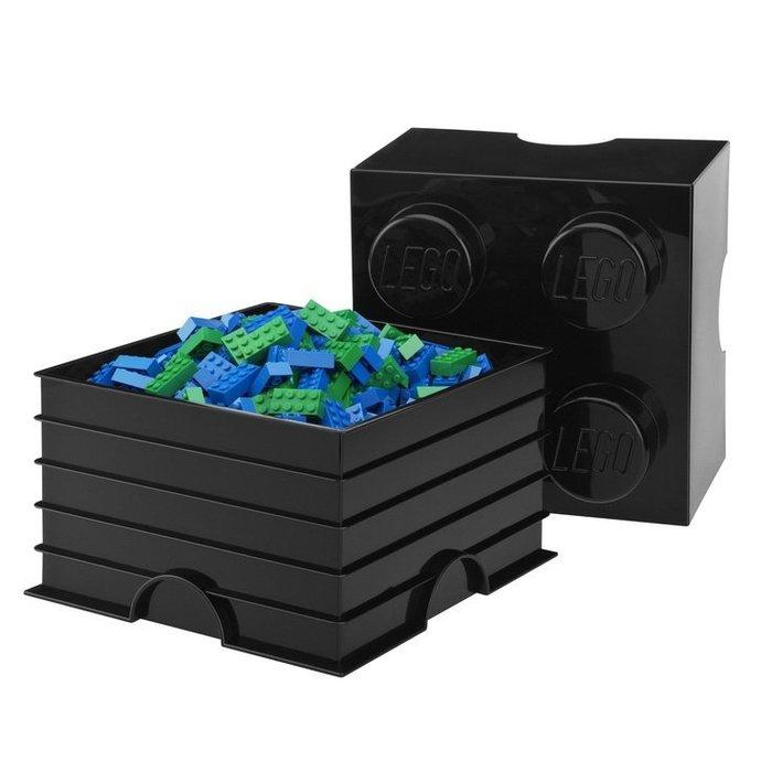 現貨可超取【LEGO 樂高】全新正品 2x2 積木收納盒 - 黑色 storage brick 4 25cmx25cm