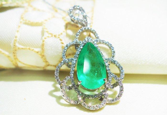 【艾琳珠寶藝術】天然哥倫比亞祖母綠3.62 ct ,絕美,貴婦豪華款,喜宴、派對、名媛系列,附證書