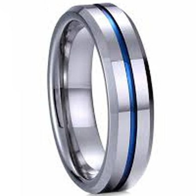 coi jewelry tungsten carbide blue groove wedding band ring 戒指