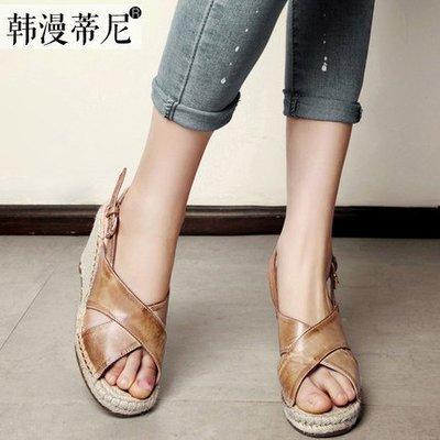 *姑涼家*夏新款女鞋真皮高跟复古坡跟罗马波西米亚鱼嘴凉鞋草编女皮鞋
