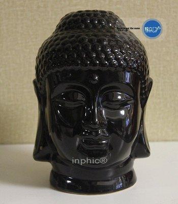 INPHIC-宗教 印度釋迦摩尼陶瓷黑色垂耳佛首禪意家居擺飾會所搭配擺設