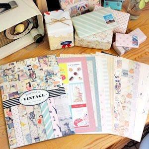 Growlife 種生活 ▶ 韓國 SEESO - DECO PAPER PACK – Vintage裝飾包裝紙+裝飾貼紙組 / 裝飾組合